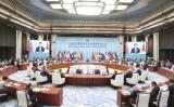 (180610) -- QINGDAO, June 10, 2018 (Xinhua) -- The 18th Meeting of the Council of Heads of Member States of the Shanghai Cooperation Organization (SCO) is held in Qingdao, east China
